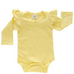 Lemon Yellow Long Sleeve flutter onesie Bodysuit wholesale